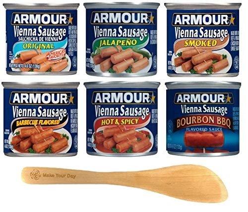 Armour Vienna香肠、原味、墨西哥胡椒、烟熏、烧烤风味、辛辣和波旁烧烤、4.6盎司罐头(6包)-带Make Your Day迷你抹刀