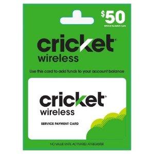 $45 多买多送, 变相9折Cricket 充值卡买$50送$5 @Target