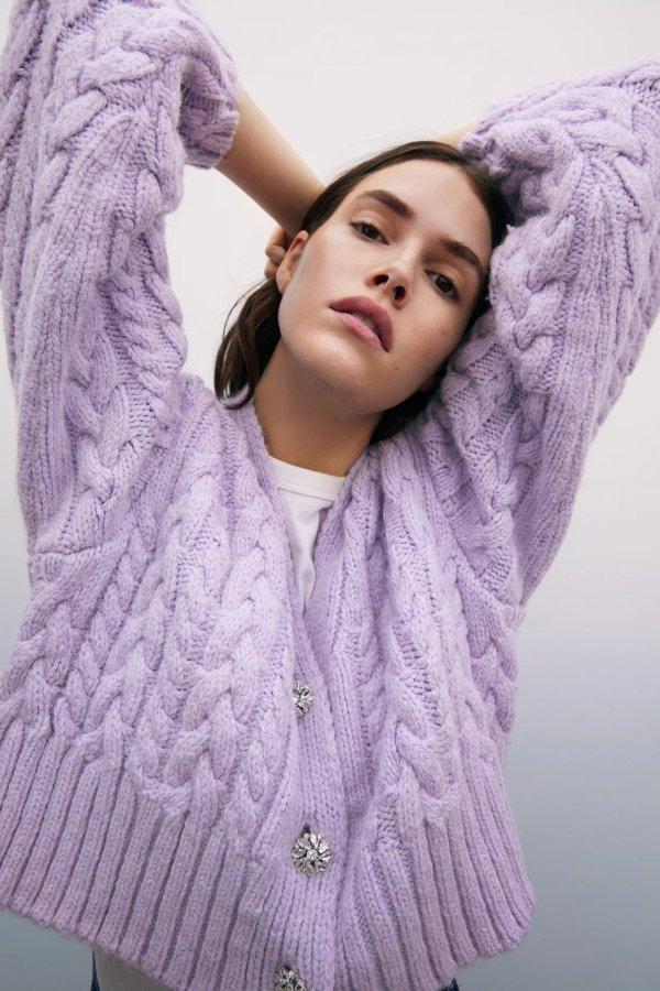 香芋紫针织开衫