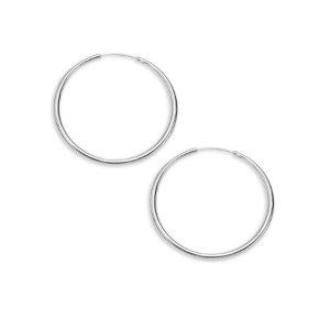 Rhodium Textured Hoop Earrings - Walmart.com