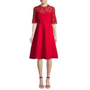 ValentinoLace-Trimmed 羊毛真丝连衣裙