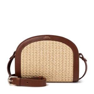 A.P.C.Demi-Lune leather-trimmed crochet shoulder bag