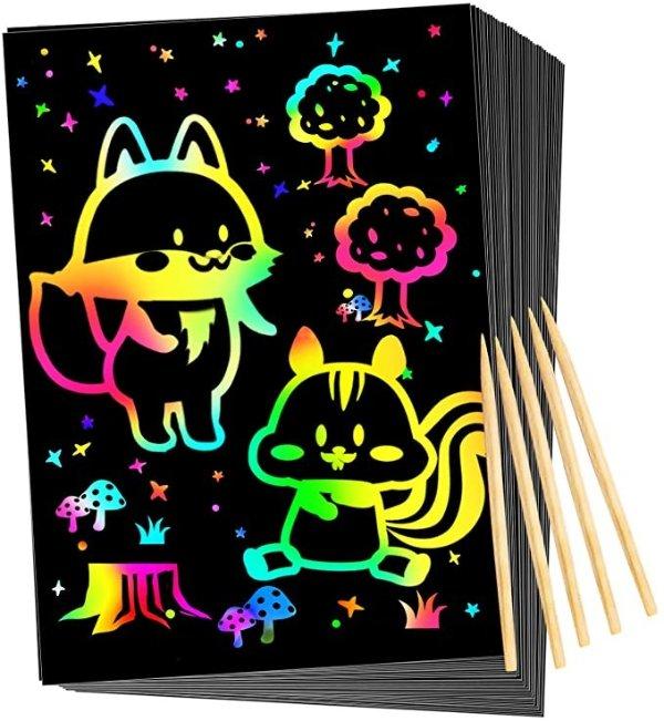Qxnew 魔术刮刮画纸50张+5支专用画笔