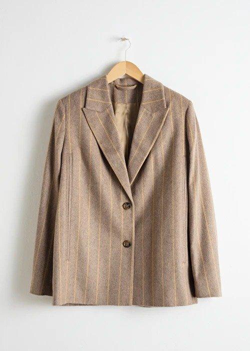 Striped Wool Blend Cape Blazer