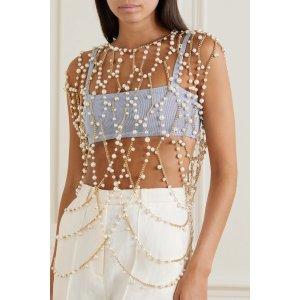 RosanticaChimera gold-tone pearl body chain