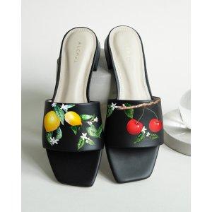 AlepelLemon & Cherries Square-Toe Slide