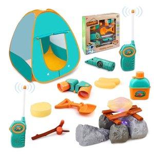 史低价:GrowthPic 儿童露营帐篷,带望远镜、对讲机等玩具