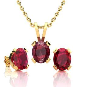 1 2/3 Carat Oval Shape Ruby Necklace and Earing Set In 14K Yellow Gold Over Stering Silver @ SuperJeweler