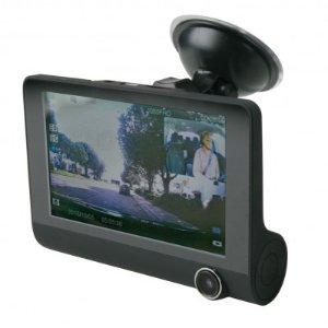 包邮送8G卡 $41.99 (原价$89.99)Scosche 前后双摄像头 4吋大屏行车记录仪