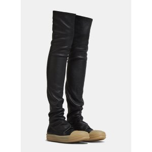 077ec9b85a92 Rick OwensThigh-High Leather Sock Sneaker Boots in Black