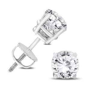 Dealmoon Exclusive:14K White Gold 2 Carat TW AGS Certified Diamond Solitaire Earrings on Sale
