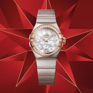 额外减$100+免税包邮独家:Omega 星座18K金镶钻珍珠母贝奢华女表