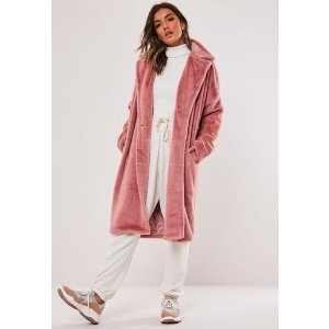 Missguided- Pink Faux Fur Oversized Coat