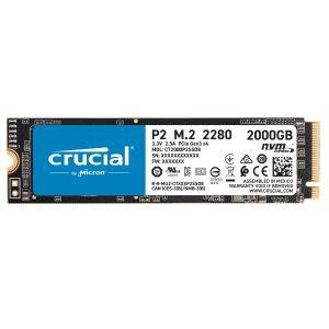 $190.99 新版TLC颗粒Crucial P2 2TB PCIe3.0x4 M.2 固态硬盘
