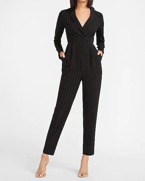 条纹西装连体裤