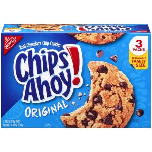 $7.34 饭后好甜点Chips Ahoy!巧克力豆曲奇甜饼家庭装18.2盎司 3盒