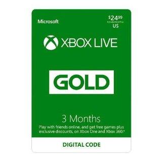 $20.99Xbox LIVE Gold 3个月会员+额外3个月会员礼券