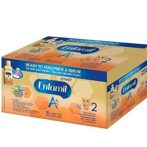 $47(原价$54.97)Enfamil美赞臣 A+  即开即用液体奶2段 237mlx18瓶