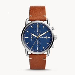 7折+折上8折FOSSIL The Commuter 男式腕表 采用真皮表带 可免费刻字