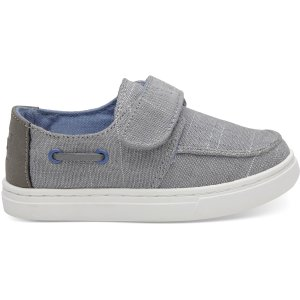 TomsDrizzle Grey Textured Chambray Tiny TOMS Culver Slip Ons