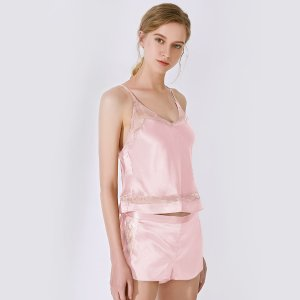 High end 19 Momme Simple Silk Cami & Shorts Set | Women | 4 Colors