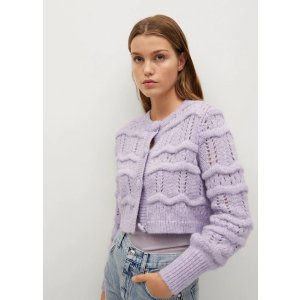 Mango女士 香芋紫针织开衫