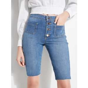 Button-Front Bermuda Denim Shorts at Guess