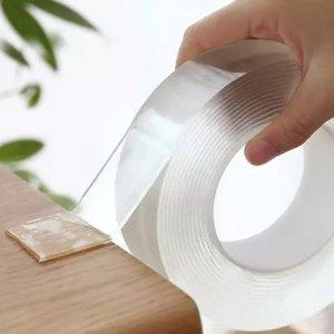 2.5折 5米仅€4.39 不同宽度可选网红纳米无痕透明胶带热促 撕除不留胶 可水洗可反复使用