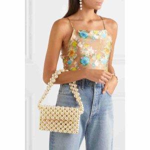 Vanina珍珠金色串珠单肩手提包