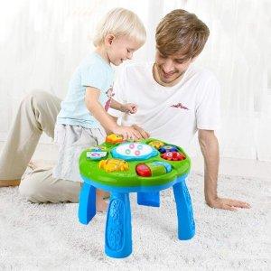 $33.99(原价$39.99)Hanmun 儿童音乐玩具桌 幼儿早教学习颜色、数字、词汇