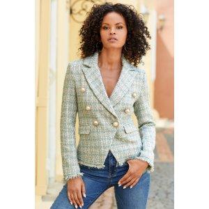 Shine Tweed Fringe Double-Breasted Pearl Jacket