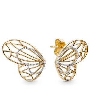 PandoraOpenwork Butterflies Earrings   18k Gold-Plated