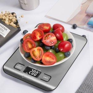 $16.99(原价$19.99) 送电池Etekcity 5公斤量程精密厨房电子秤 减肥绝不多吃1克米