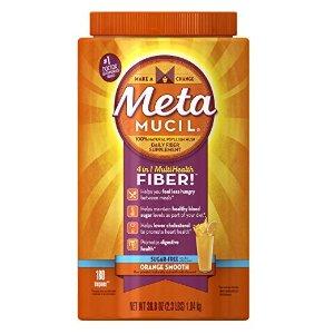Metamucil 纤维补充剂粉末,橙味,不含糖,180剂