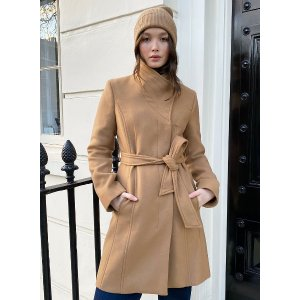 the connor coat Belted wrap wool coat