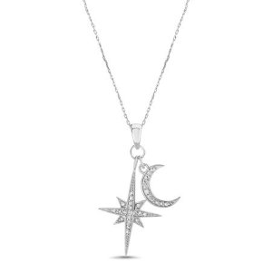 Diamond Accent North Star and Crescent Pendant in Sterling Silver