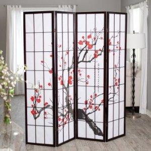 Finley HomeCherry Blossom Rosewood 4 Panel Room Divider