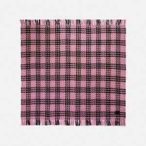 Coach100%羊毛羊毛格纹围巾