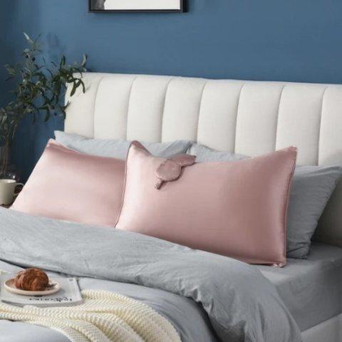 Lifease 100% Mulberry Silk Pillowcase + Eye Shade Bundle