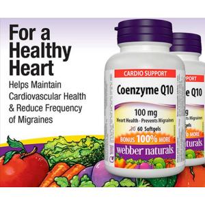 $9.3(原价$13.99)Webber Naturals 辅酶Q10高效抗氧化软胶囊(100 mg) 60粒