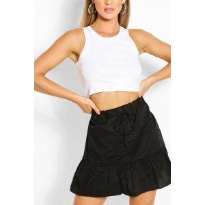 BoohooDrop Hem Cotton Poplin Mini Skirt | boohoo