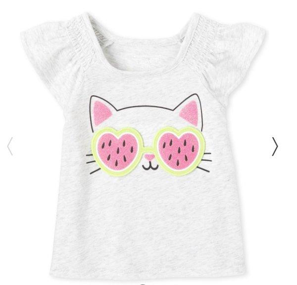 婴儿猫咪捉迷藏T恤