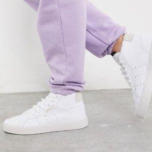 $43.64起(原价$130)adidas Originals sleek女款高帮小白鞋 大幂幂同款 显脚脖细