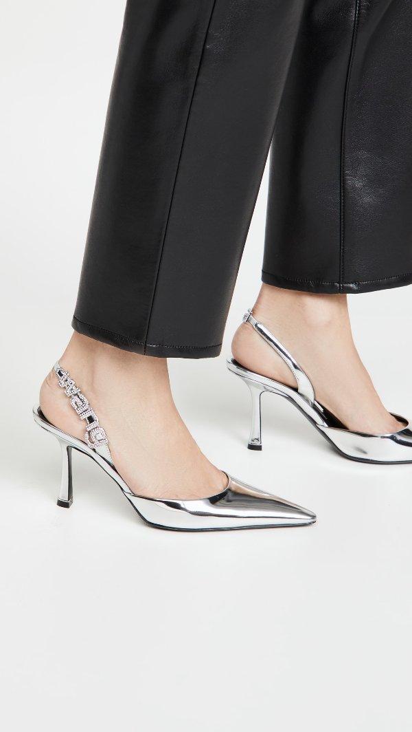 Grace 85mm 镜面银色露跟鞋