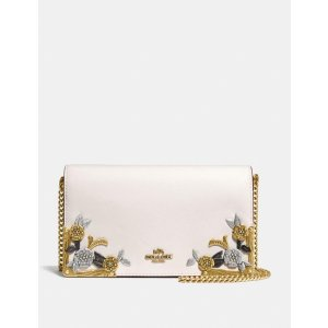 CoachCallie Foldover Chain Clutch With Metal Tea Rose