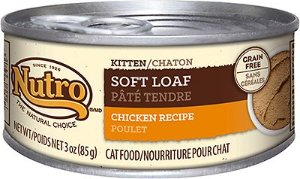 Nutro Kitten Soft Loaf Chicken Recipe Grain-Free Canned Cat Food, 3-oz, case of 24 - Chewy.com