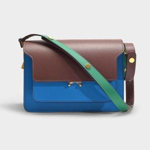 Marni拼色蓝棕绿色风琴包