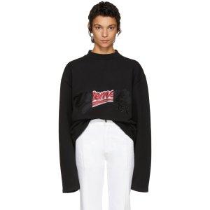 Vetements: Black Embroidered Bro Sweatshirt | SSENSE