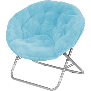 $30Mainstays Adult Faux Fur Saucer Chair, Aqua