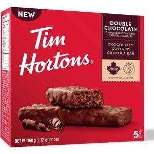 $2.77 ($0.5/条)Tim Hortons 巧克力燕麦棒 5条 扛饿又解馋的魔性零食